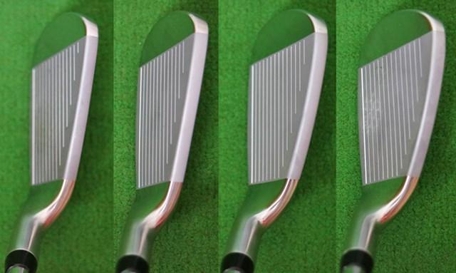 ヤマハ RMX 216 アイアン マーク試打 (画像 2枚目) 左から6番、7番、8番、9番のヘッド形状。大きめのヘッドは視覚的にもミスヒットへの強さを感じさせる