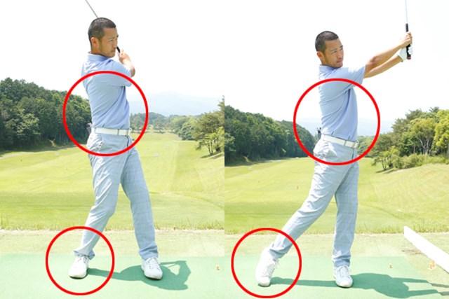 体重移動(右脚の蹴る力)と体の回転のバランス関係によってスイング軌道は変化する