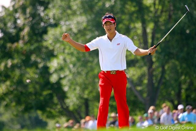 2009年 全米プロゴルフ選手権最終日 石川遼 9番では20メートルを捻じ込みバーディ!大ギャラリーの歓声に応える