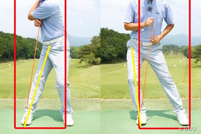 右足の軸がブレると、スイング中にボックスからハミ出しやすい