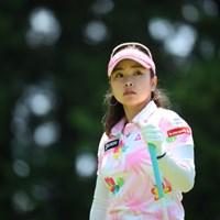 今日は女の子らしくピンクの可愛いウェア。 2016年 センチュリー21レディスゴルフトーナメント 2日目 青山加織