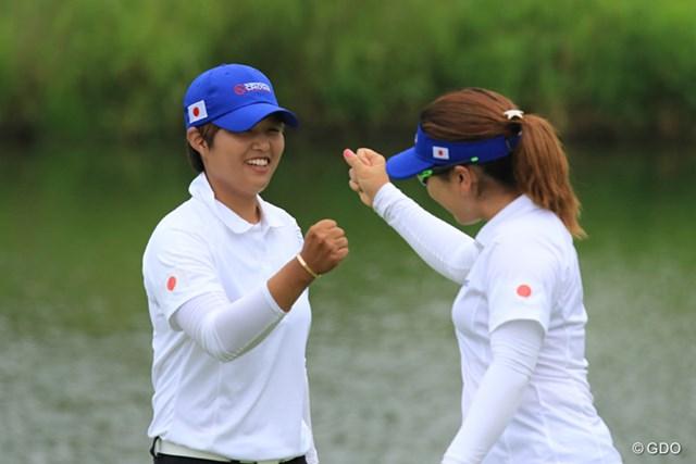 好プレーを見せたが、米国組に一歩及ばなかった宮里美香と野村敏京組
