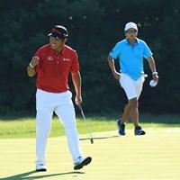一緒に回ったダニー・リーとの勝負に勝ち、松山英樹はこのガッツポーズ 2016年 全米プロゴルフ選手権 事前 松山英樹