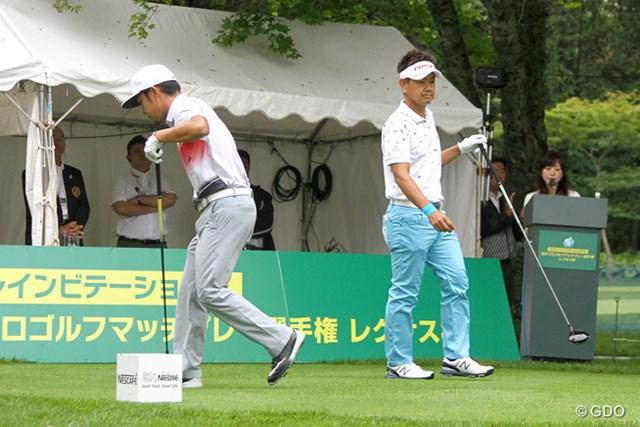 2016年 ネスレインビテーショナル 日本プロゴルフマッチプレー選手権 レクサス杯 2日目 藤田寛之&時松隆光 午前7時に2回戦がスタート。第1マッチの藤田寛之と時松隆光がティオフした