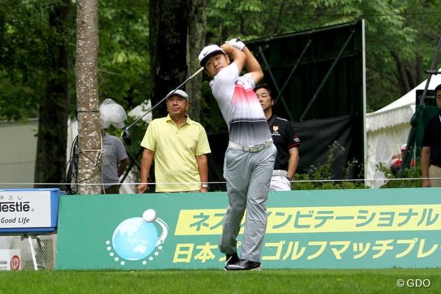 2016年 ネスレインビテーショナル 日本プロゴルフマッチプレー選手権 レクサス杯 2日目 時松隆光 2回戦で藤田寛之を破った時松隆光。引き続き谷口徹と3回戦を戦う
