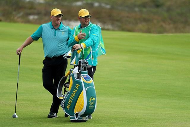 112年ぶりの五輪ゴルフで初日首位に立ったマーカス・フレイザー。片山晋呉と同組のプレーだった(Scott Halleran/Getty Images)