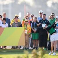 第1組からティオフするアイルランドのレオナ・マグワイア(Stephen McCarthy/Getty Images) 2016年 リオデジャネイロ五輪 初日  レオナ・マグワイア