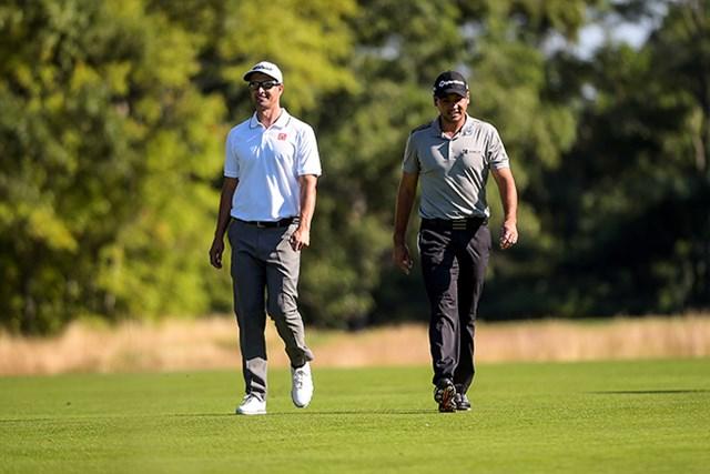 2016年 ザ・バークレイズ 初日 アダム・スコット ジェイソン・デイ 7位発進としたデイ(右)と11位のアダム・スコット(Photo by Chris Condon/PGA TOUR)