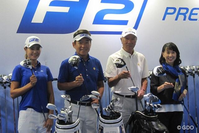 テーラーメイド「グローレF」発表 『グローレ』シリーズを使用する左から松森彩夏、尾崎直道、青木功、東尾理子
