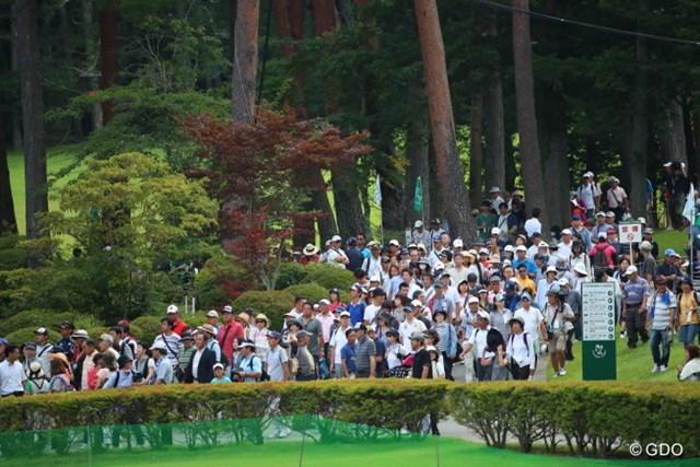 2016年 フジサンケイクラシック 2日目 ギャラリー 前年比150%のギャラリーが詰めかけている富士桜。これも遼効果か?