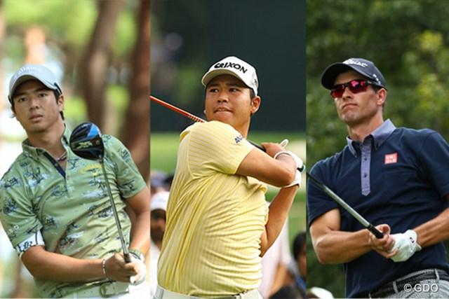 2016年 日本オープンゴルフ選手権競技 事前 石川遼 松山英樹 アダム・スコット JGAは日本オープンに3選手(左から石川遼、松山英樹、アダム・スコット)の出場を発表した