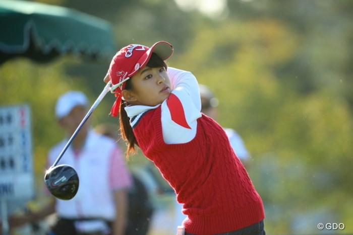 朝7時のスタートから夕方の5時近くまで単独首位の座に。 2016年 日本女子オープンゴルフ選手権競技 2日目 @長野未祈