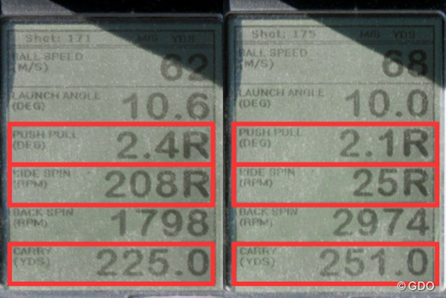 「TW737 450」で試打した時の、ミーやん(左)とツルさん(右)の弾道計測値。左に行きづらく、満足のいく飛距離が出た