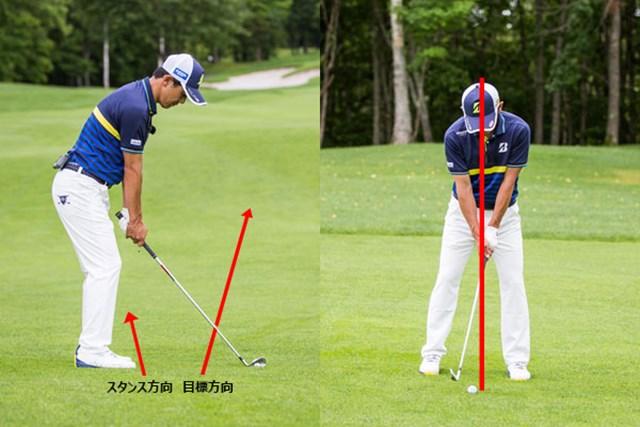 目標ラインより左を向き(写真:左)、ボール位置は通常より右によりにセットする(写真:右)。