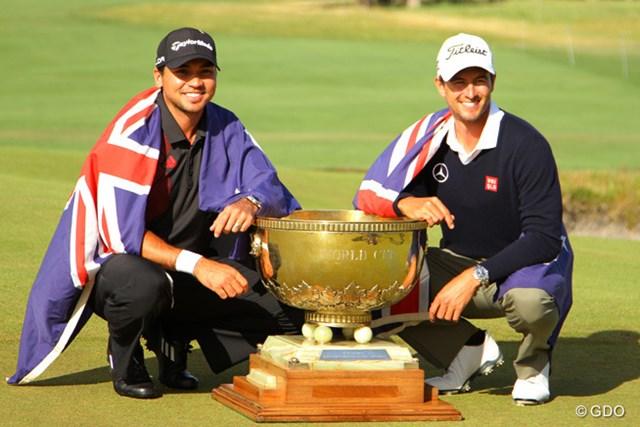 """2016年 ISPSハンダ ゴルフワールドカップ 事前 ジェイソン・デイ アダム・スコット 前回の2013年大会は開催地のオーストラリアが""""黄金ペア""""でW杯制覇を果たした"""