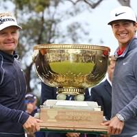 笑顔が弾けるデンマーク代表の2選手 2017年 ISPSハンダ ゴルフワールドカップ 最終日 ソレン・ケルドセン トービヨン・オルセン