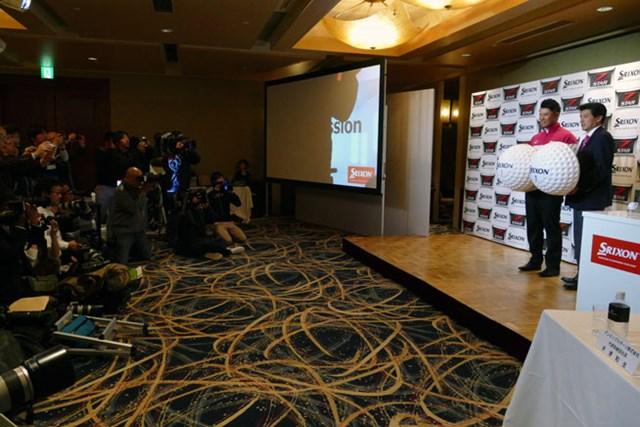 松山英樹 松山はダンロップスポーツの新製品発表会に出席。多くの報道陣が会場を訪れた