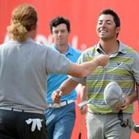 14年大会でM.A.ヒメネス、R.マキロイら強豪を破り、優勝したP.ララサバル(Ross Kinnaird/Getty Images) 2017年 アブダビHSBCゴルフ選手権 事前  パブロ・ララサバル