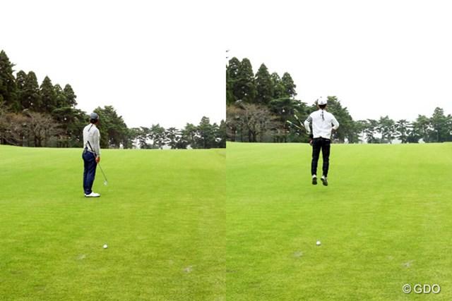 グリーンをじっと確認する中井プロに対し、ジャンプしながら確認する黒田さん