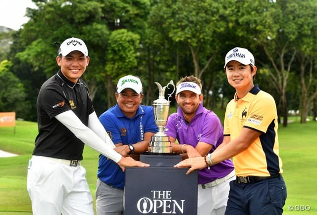 全英出場を決めた(左から)パチャラ・コンワットマイ、プラヤド・マークセン、ジェイビー・クルーガー、ソン・ヨンハンの4選手(提供:SMBCシンガポールオープン