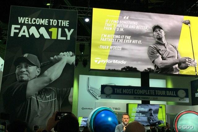 PGAショーのテーラーメイドブースでもウッズとの契約が発表された