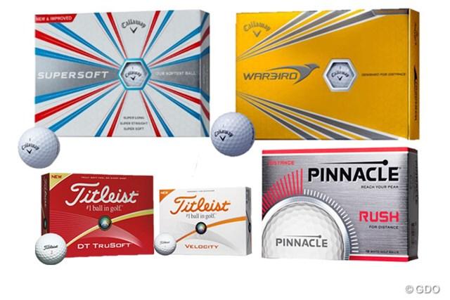 (上段)キャロウェイゴルフ「スーパーソフト ボール」「ウォーバード ボール」、(下段)タイトリスト「DT TRUSOFT ボール」「ベロシティ ボール」、ピナクル「RUSH ボール」