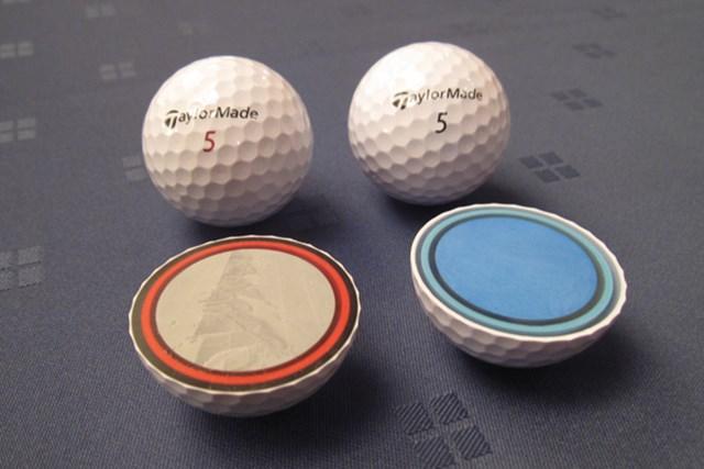 「TP5/TP5x ボール」の断面図。第1層コアのコンプレッション値は40と非常に柔らかい