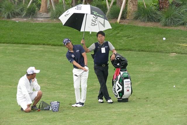 開幕前日は昼からの雷雨のためアプローチ練習のみで切り上げた
