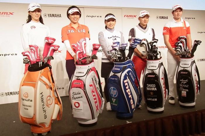 新契約を結んだ5人(写真左から)ユン・チェヨン、大山志保、有村智恵、今平周吾、弓削淳詩 チームヤマハ