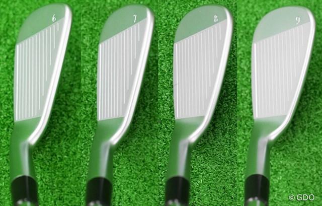 ピン i200 アイアン マーク試打(画像 2枚目) 左から6番、7番、8番、9番のヘッド形状。i ブレードより一回り大きいヘッドは、操作性がありながらミスヒットに対する強さを感じさせる。