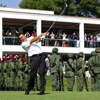 始球式に登場したのはメキシコ人ゴルファーのエステバン・トレド。チャンピオンズツアー1勝を誇る 2017年 WGCメキシコ選手権 初日 エステバン・トレド