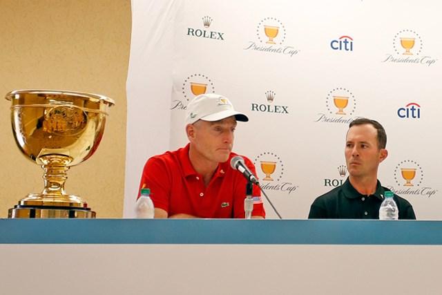 7日のキャプテン会議で副キャプテンの追加を発表。米国選抜はJ.フューリック(左)と世界選抜はM.ウィアが就任した(Justin K. Aller /Getty Images)