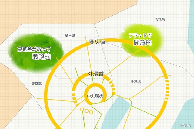 圏央道 埼玉区間と茨城区間沿線のゴルフ場特色 圏央道の埼玉区間周辺は、高低差があって戦略的なコースが多く、茨城区間はフラットで開放的なコースが多い。