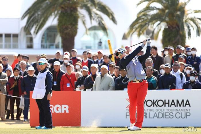 PRGRのホステスプロだから頑張らねばね 2017年 ヨコハマタイヤゴルフトーナメント PRGRレディスカップ 初日 森田理香子