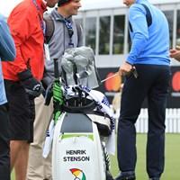 ステンソンのバッグには名前と傘、それに「A life well played」の文字 2017年 アーノルド・パーマー招待byマスターカード 事前 ヘンリック・ステンソン