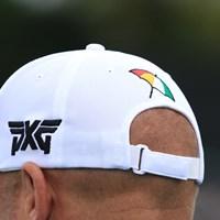 PXGのツアーレップが被る帽子は、大きな傘の刺繍入り 2017年 アーノルド・パーマー招待byマスターカード 事前 PXG