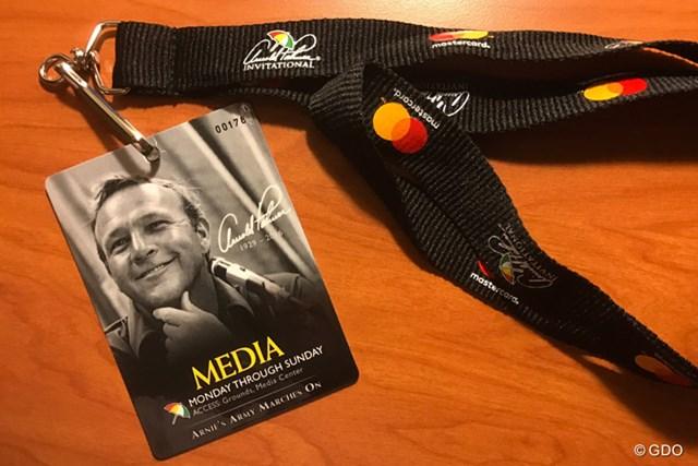 若々しいパーマーの笑顔が印象的な今大会のメディアパス