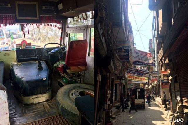 カトマンズまでの道のりで乗車したバス(左)と街中の風景