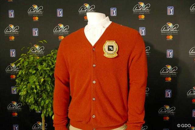 今年から大会優勝者に贈られることになったアルパカの赤いカーディガン