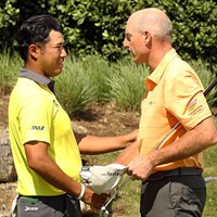 フューリックと握手を交わす松山英樹。消化不良の引き分けに終わった 2017年 WGCデルテクノロジーズ マッチプレー 初日 松山英樹 ジム・フューリック