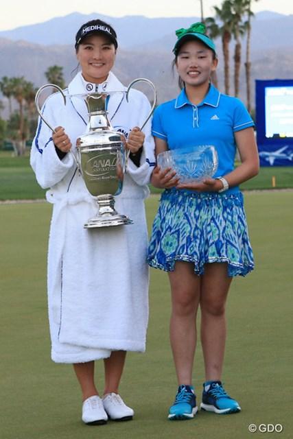 優勝したユ・ソヨンとアマチュアのタイトルを獲得したルーシー・リー