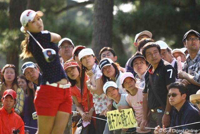 2009年 日本女子オープン最終日 上田桃子 子供達の必死の応援も残念ながら届かなかった。
