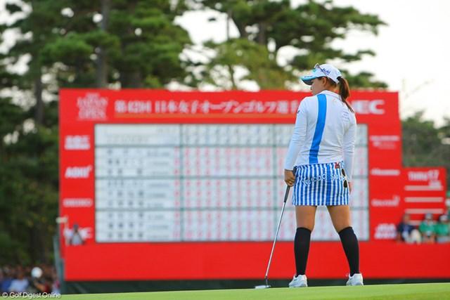 2009年 日本女子オープン最終日 横峯さくら 最後のバーディパットを外し、呆然とする横峯さくら