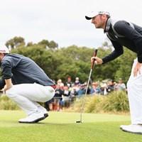 イングランド代表のサリバンとウッドは昨年のISPSハンダワールドカップでもコンビを組んだ(Quinn Rooney/Getty Images) 2017年 ゴルフシックス 事前 アンディ・サリバン クリス・ウッド