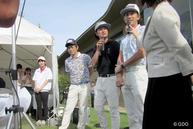 豪華著名人たちもチャリティイベントに参加。会場を盛り上げる(左から)博多華丸、上地雄輔、三浦翔平の3人