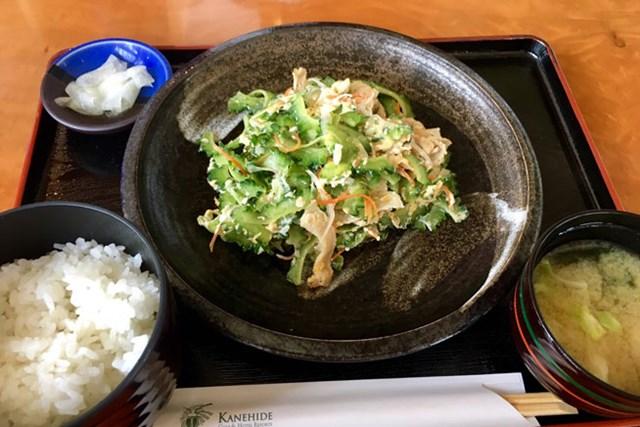 2017年 日本プロ選手権 日清カップヌードル杯 事前 ゴーヤチャンプル定食 かねひで喜瀬カントリークラブでのランチもゴーヤ!