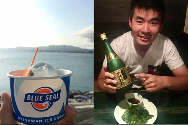 沖縄といえばブルーシールアイスクリーム(左)と海ぶどう(右)。「まさひろ」という泡盛にも出会いました