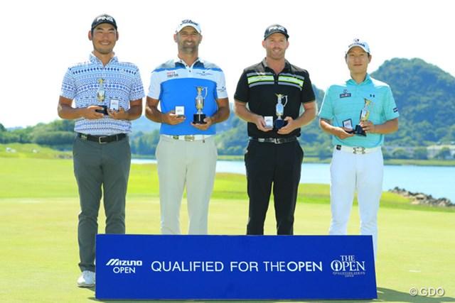 「全英」切符を手にした(左から)チャン・キム、M.ヘンドリ―、A.ブランド、キム・キョンテ