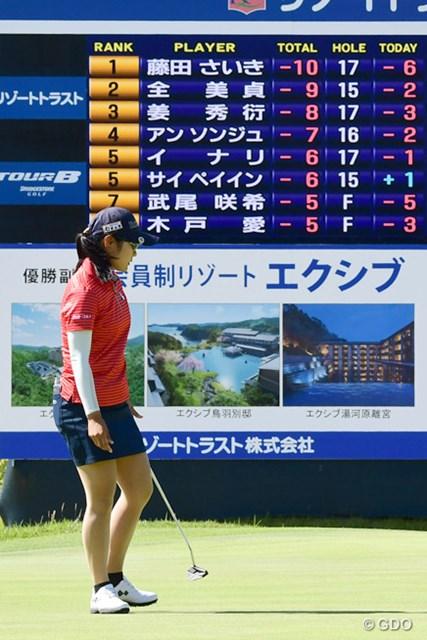 2017年 リゾートトラスト レディス 最終日 最終18番で2mのパーパットを外した藤田さいき。POで6季ぶりの復活Vを逃した