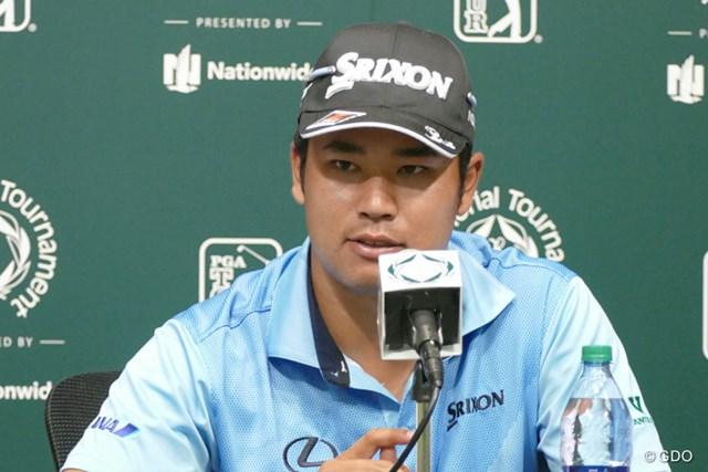 記者会見に呼ばれた松山英樹。2014年大会のチャンピオンは今年も注目選手の1人だ。